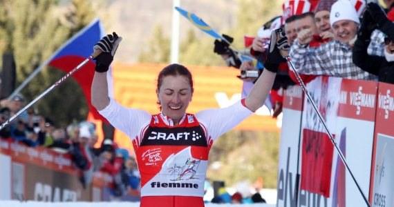 Justyna Kowalczyk na mecie podbiegu pod Alpe Cermis /Grzegorz Momot /PAP