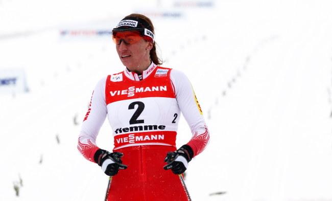 Justyna Kowalczyk na mecie w finale sprintu /Grzegorz Momot /PAP