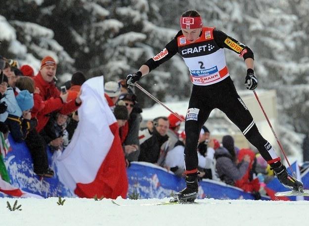 Justyna Kowalczyk na podbiegu pod Alpe Cermis /AFP