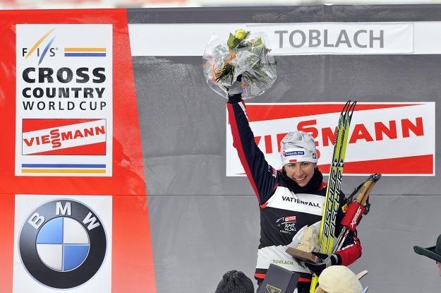 Justyna Kowalczyk na podium po biegu pościgowym/fot. Philippe Montigny /Getty Images/Flash Press Media
