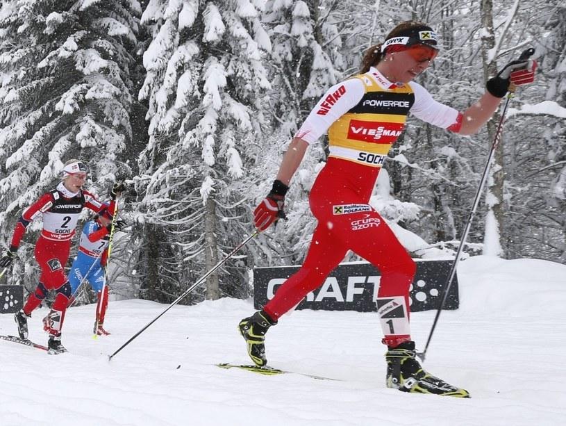 Justyna Kowalczyk na trasie biegu łączonego /PAP/EPA