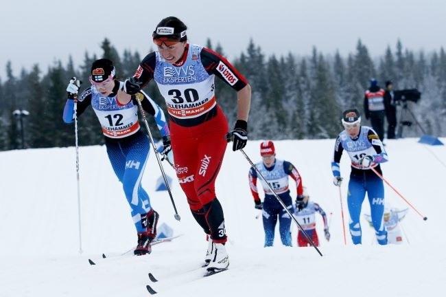 Justyna Kowalczyk na trasie biegu w Lillehammer /PAP/EPA