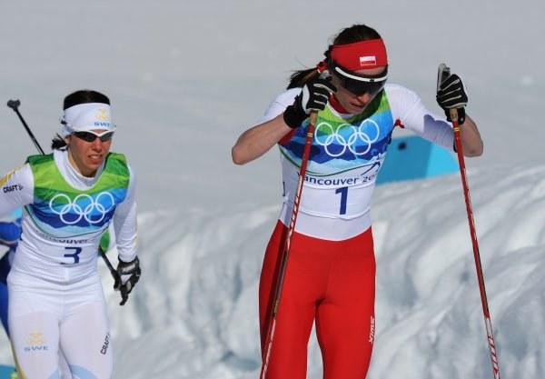Justyna Kowalczyk na trasie biegu /AFP
