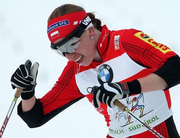 Justyna Kowalczyk podczas biegu sprinterskiego na 3,3 km w Toblach /PAP/EPA