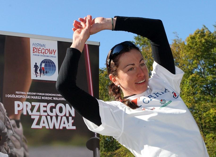 Justyna Kowalczyk podczas Festiwalu Biegowego 2013 / Grzegorz Momot    /PAP