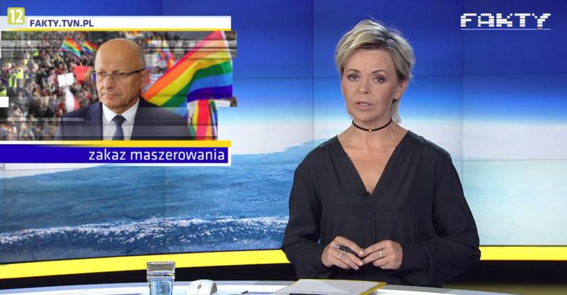 """Justyna Pochanke zapowiada materiał """"Faktów"""" /TVN"""