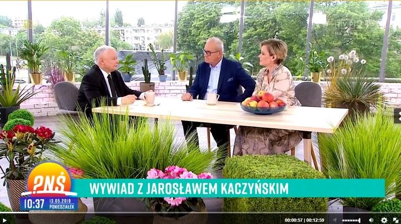 """Kaczyński w """"Pytaniu na śniadanie"""" (Screen: pytanienasniadanie.tvp.pl) /TVP /materiał zewnętrzny"""