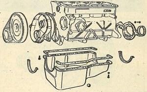 Kadłub silnika z obudową napędu wałka rozrządu i paskiem zębatym zastosowanym zamiast łańcucha. Pasek pracuje oczywiście poza obiegiem olejenia silnika. /Motor