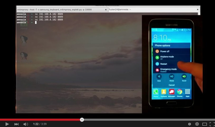 """Kadr z prezentacji wideo """"SamsungKeyboardExploit"""" - materiał omawia lukę w zabezpieczeniach smartfonów Samsunga /YouTube"""