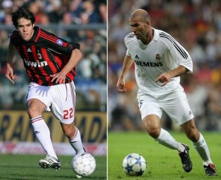 Kaka (z lewej) i Zinedine Zidane - za tych piłkarzy zapłacono najwięcej. /AFP