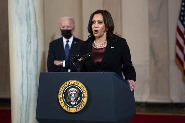 Kamala Harris, komentująca wyrok ws. śmierci Floyda /Doug Mills / POOL /PAP/EPA