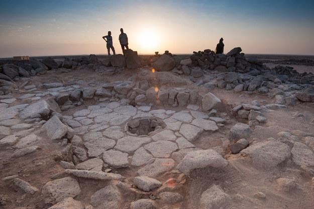 Kamienna strutura z paleniskiem w środku, w rejonie Shubayqa 1. /Alexis Pantos /Materiały prasowe
