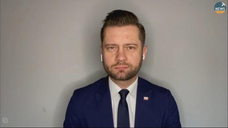 "Kamil Bortniczuk (Porozumienie) w ""Graffiti"" /Polsat News"