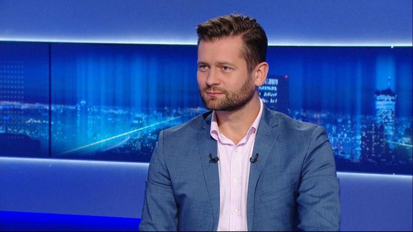 """Kamil Bortniczuk (Porozumienie) w programie """"Gość Wydarzeń"""" w Polsat News /Polsat News"""