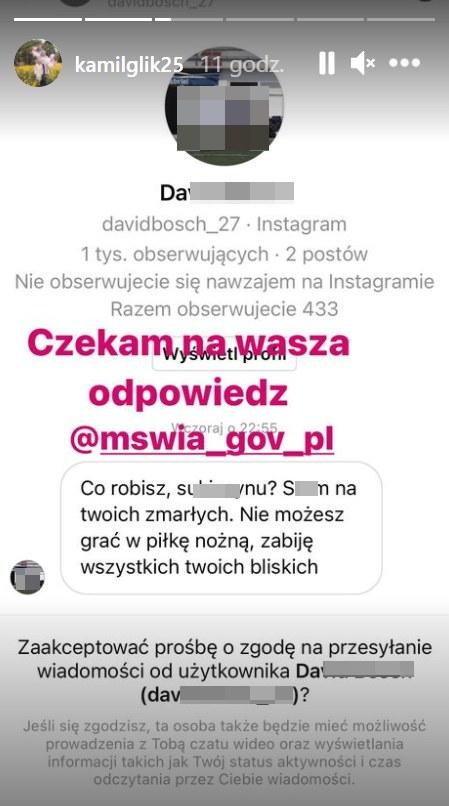 Kamil Glik ujawnił treść szokującej wiadomości /https://www.instagram.com/kamilglik25 /Instagram