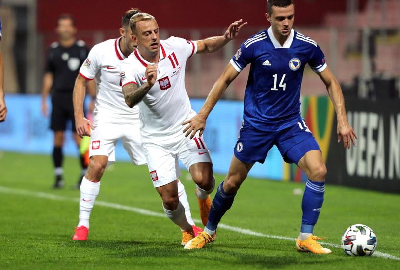 Kamil Grosicki w meczu z Bośnią i Hercegowiną /PAP/EPA
