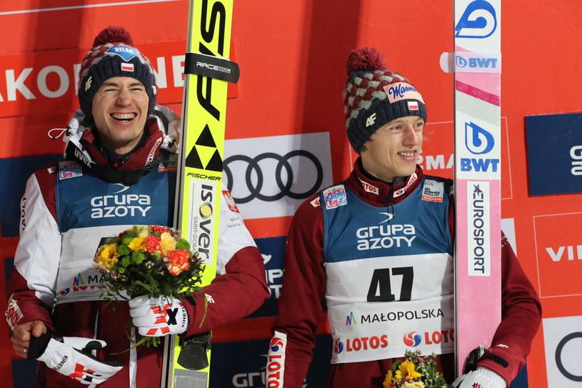 Kamil Stoch i Dawid Kubacki na podium w Zakopanem / Grzegorz Momot    /PAP