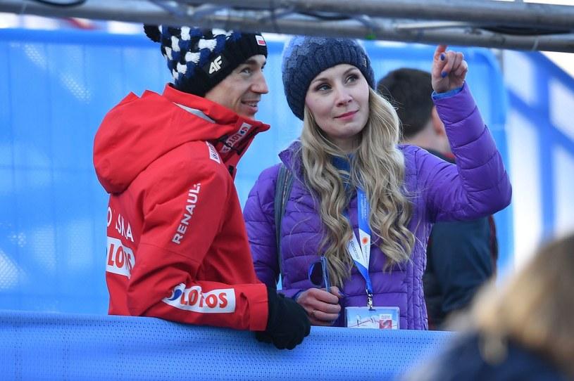 Kamil Stoch może zawsze liczyć na wsparcie żony Ewy. Nie inaczej jest tym razem /AFP