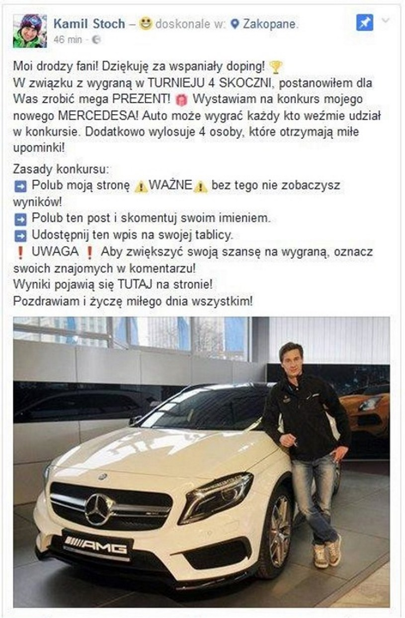 Kamil Stoch padł ofiarą oszustwa /Print Screen/Facebook /