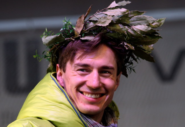 Kamil Stoch podczas powitania w Zębie /Grzegorz Momot /PAP