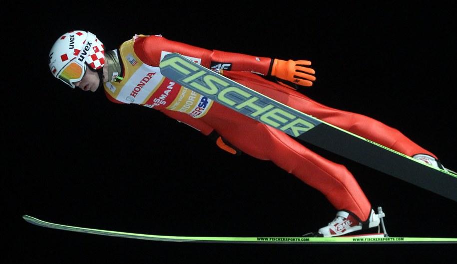 Kamil Stoch w zawodach Turnieju Czterech Skoczni w Oberstdorfie /Grzegorz Momot  (PAP) /PAP