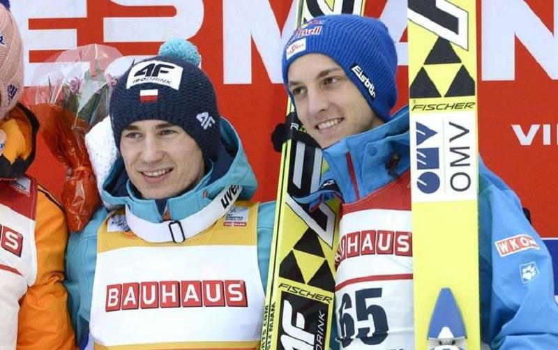 Kamil Stoch (z lewej) i Gregor Schlierenzauer w 2014 roku /AFP