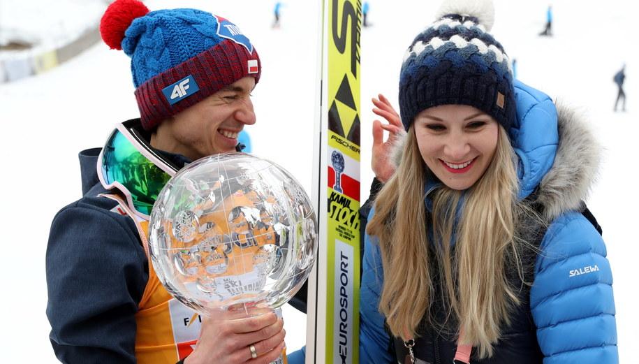 Kamil Stoch z żoną Ewa Bilan-Stoch / Grzegorz Momot    /PAP