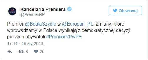 Kancelaria Premiera na Twitterze /Twitter