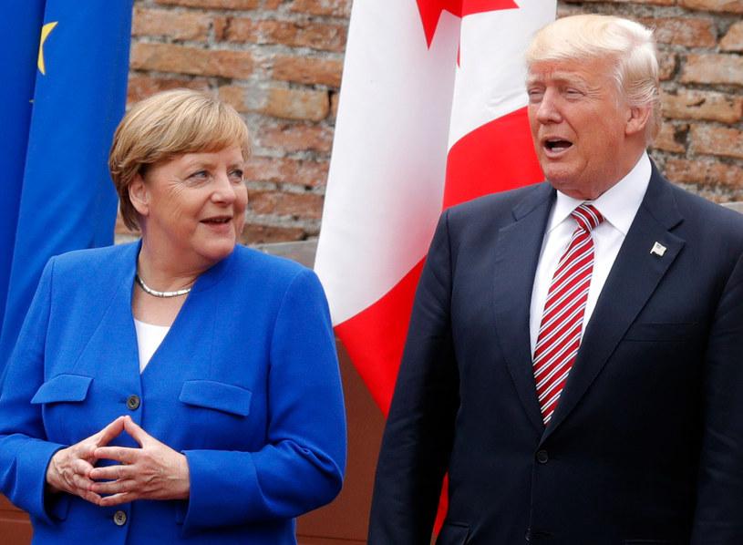 Kanclerz Angela Merkel i prezydent Donald Trump /PHILIPPE WOJAZER /AFP