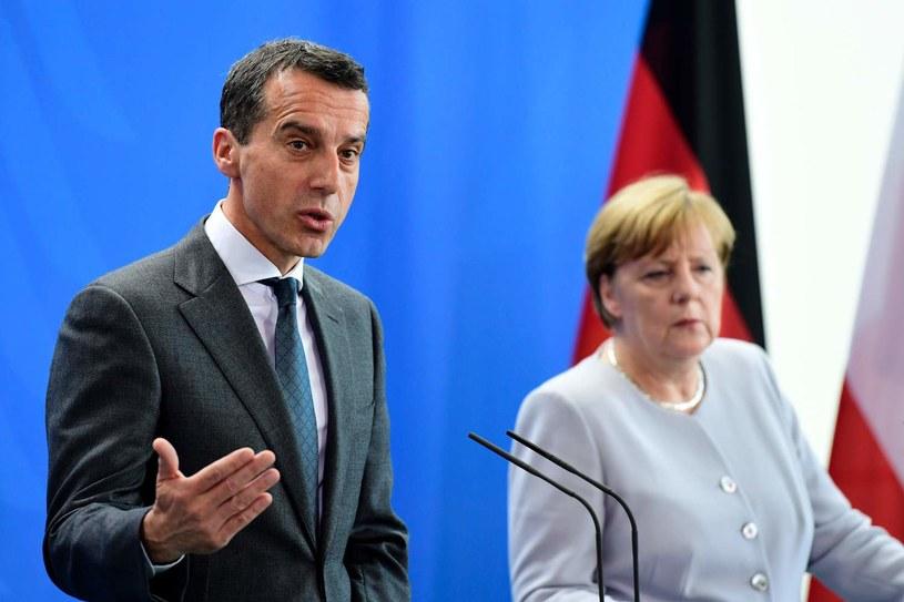 Kanclerz Austrii Christian Kern oraz kanclerz Niemiec Angela Merkel /AFP