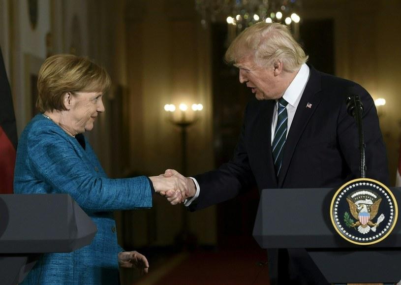 Kanclerz Niemiec Angela Merkel i prezydent USA Donald Trump /SAUL LOEB /AFP