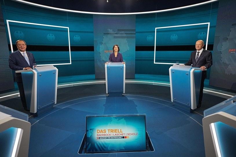Kandydaci na kanclerza Niemiec w studiu telewizyjnym /MICHAEL KAPPELER / POOL /PAP/EPA