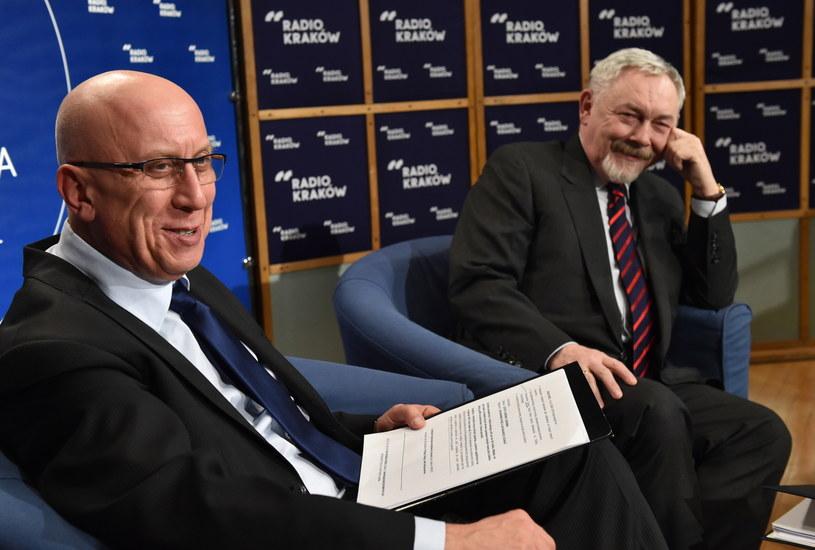 Kandydaci na prezydenta Krakowa w II turze wyborów Marek Lasota i Jacek Majchrowski /Jacek Bednarczyk /PAP