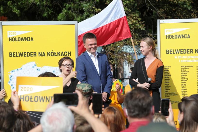 Kandydat na prezydenta RP Szymon Hołownia z małżonką Urszulą Brzezińską-Hołownią /Wojciech Olkuśnik /PAP