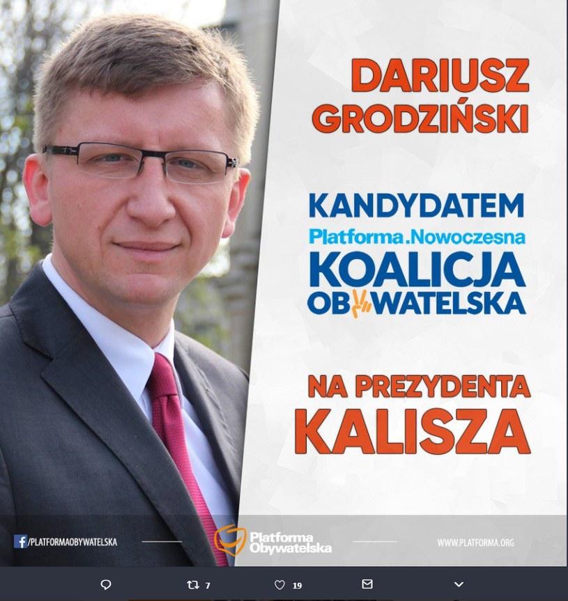 Kandydat PO i N. na prezydenta Kalisza /Twitter