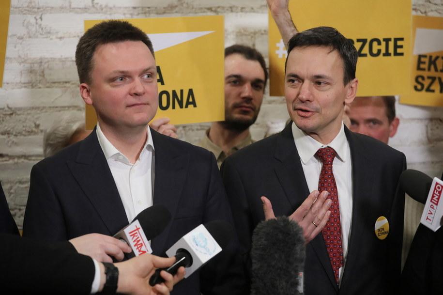Kandydat w wyborach prezydenckich 2020 Szymon Hołownia oraz szef jego sztabu wyborczego Jacek Cichocki /Paweł Supernak /PAP