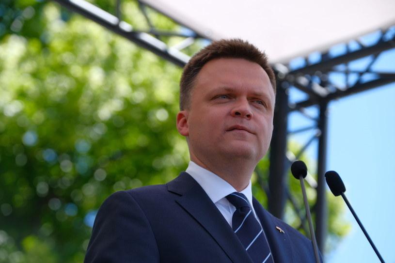 Kandydat w wyborach prezydenckich Szymon Hołownia podczas inauguracji kampanii prezydenckiej w Warszawie /Mateusz Marek /PAP