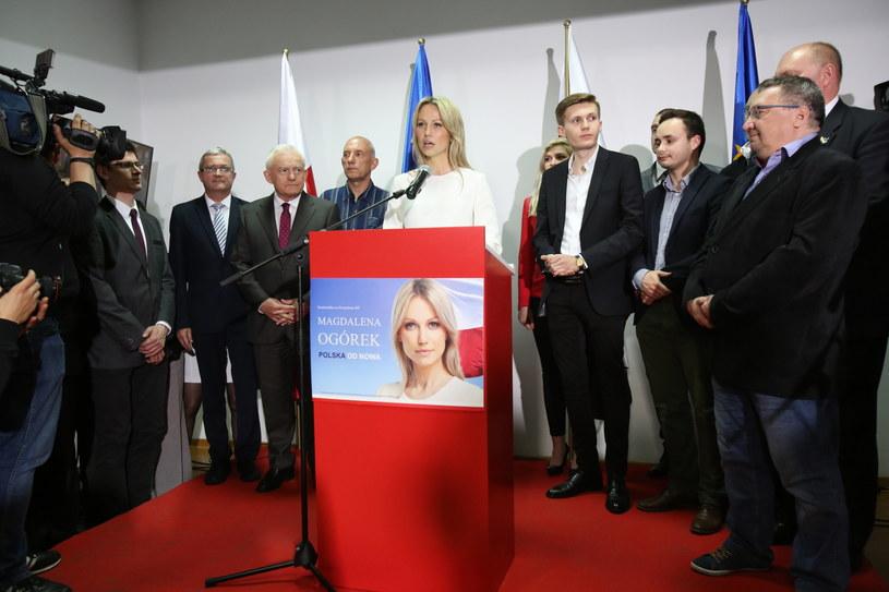 Kandydatka SLD na prezydenta RP Magdalena Ogórek oraz lider Sojusz Leszek Miller podczas wieczoru wyborczego /Leszek Szymański /PAP