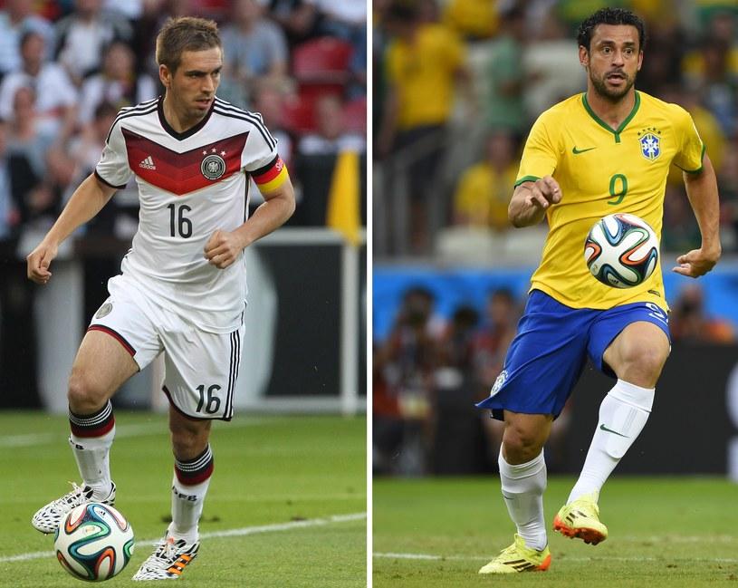 Kapitan reprezentacji Niemiec Philipp Lahm i Brazylijczyk Fred /AFP