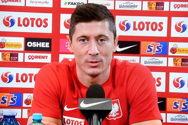 Kapitan reprezentacji Polski Robert Lewandowski podczas konferencji prasowej online /Piotr Nowak /PAP