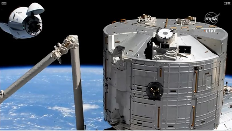 Kapsuła Crew Dragon przybyła na Międzynarodową Stację Kosmiczną /NASA /Twitter