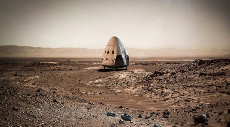 Kapsuła Red Dragon na powierzchni Marsa / Fot. SpaceX /materiały prasowe