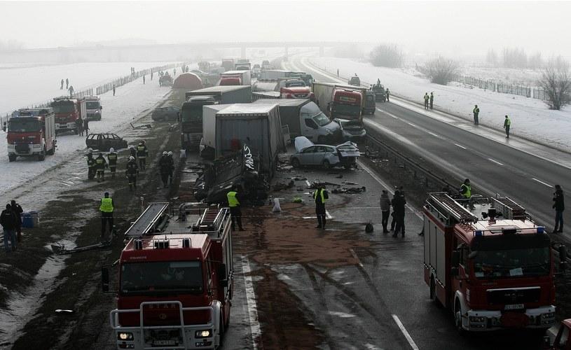 Karambol na autostradzie A1 /Michał Wojciechowski /Reporter