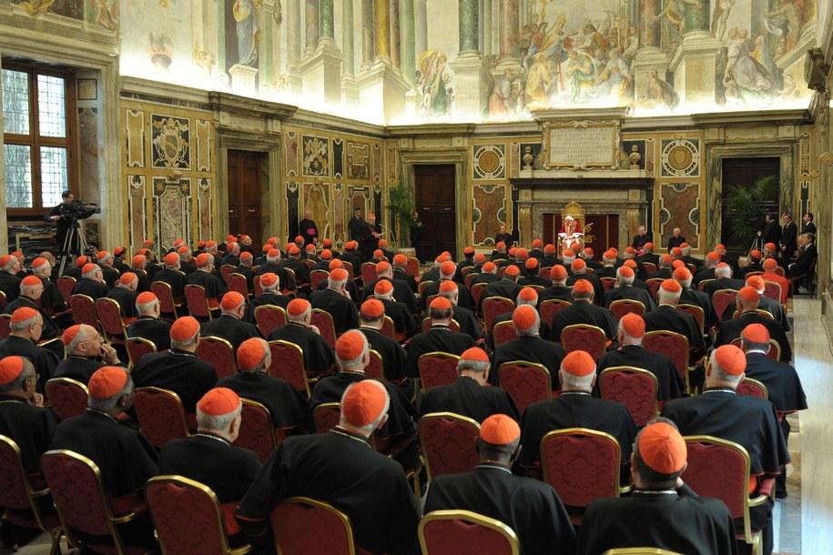 Kardynałowie podczas ostatniego spotkania z papieżem Benedyktem XVI /OSSERVATORE ROMANO / HANDOUT /PAP/EPA