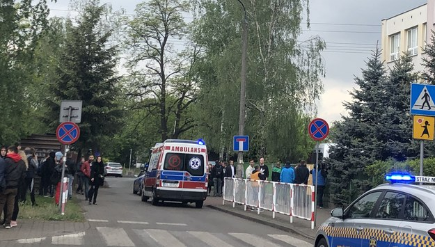 Karetka i służby przed szkołą, w której doszło do morderstwa. /Michał Dobrołowicz /RMF FM