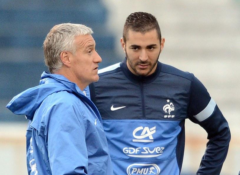 Karim Benzema (z prawej) i selekcjoner Francuzów Didier Deschamps /AFP