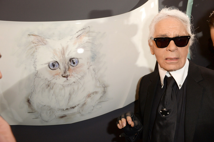 Karl Lagerfeld z portretem swojej kotki Choupette /Splashnews /East News