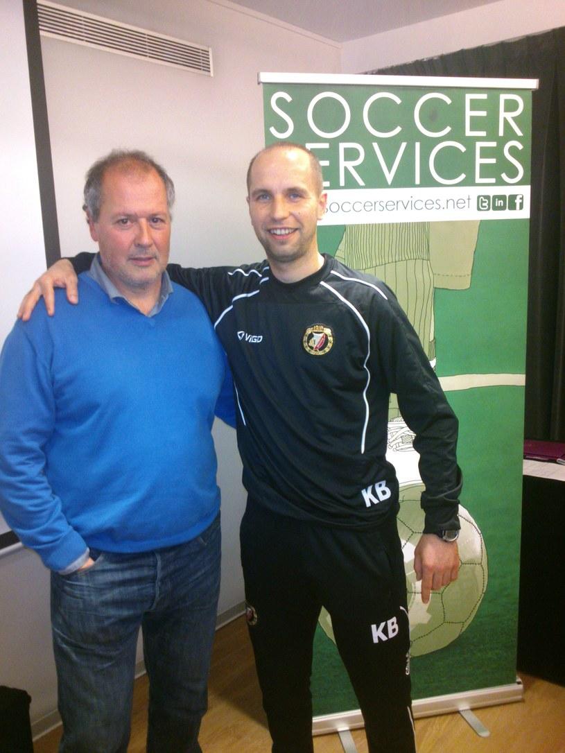 Karol Bortnik i koordynator szkolenia młodzieży Espanyolu Barcelona - Albert Villaroya /INTERIA.PL