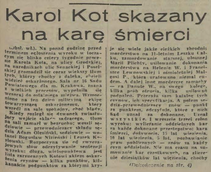 """""""Karol Kot skazany na karę śmierci"""" - """"Dziennik Polski"""" z 15. lipca 1967 r. /"""