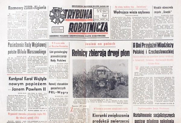 """""""Trybuna Robotnicza"""" - 17 październikq 1978, informacja o wyborze kardynała Wojtyły na papieża"""
